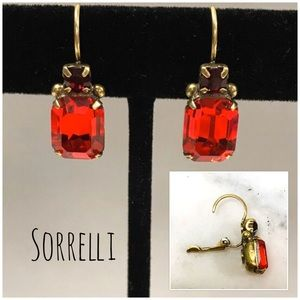 Sorrelli Red Siam French Wire Crystal Earrings,NWT